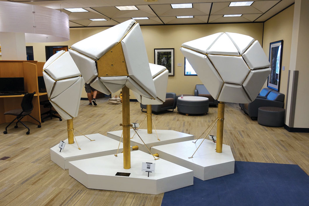 Sculpture on display in library.