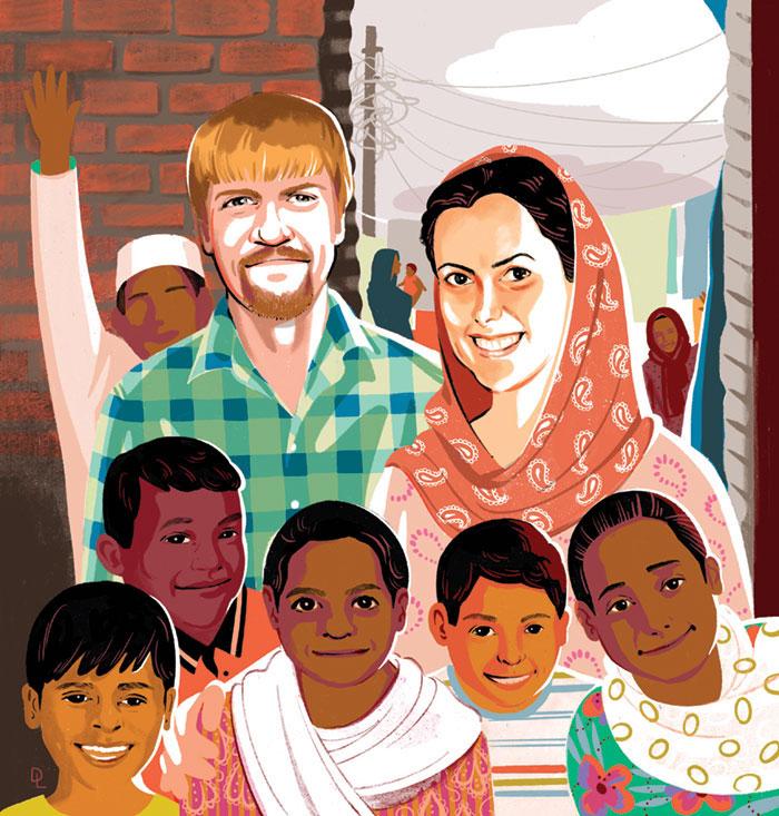 Illustration of Hakims posing with children.