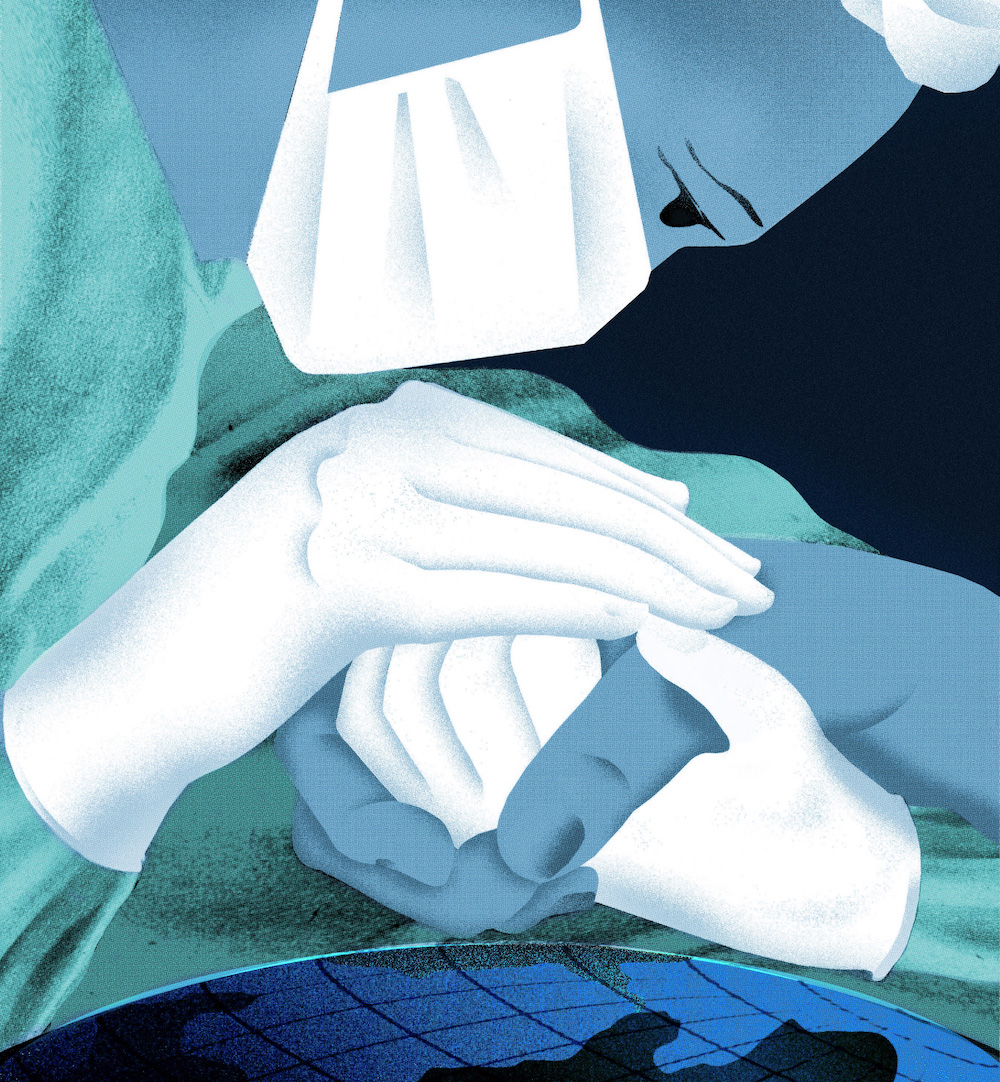 Graphic art of medical professional holds a hand above the earth.