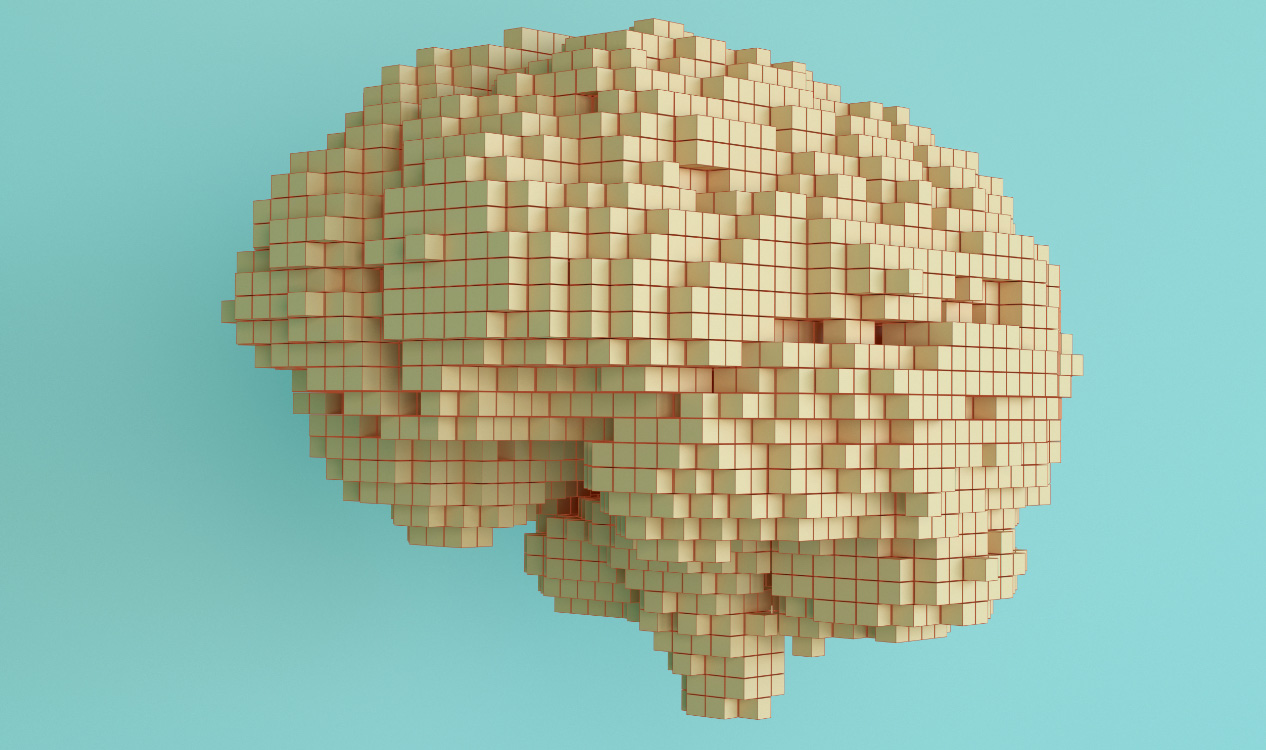 Rendition of human brain made of small cubes