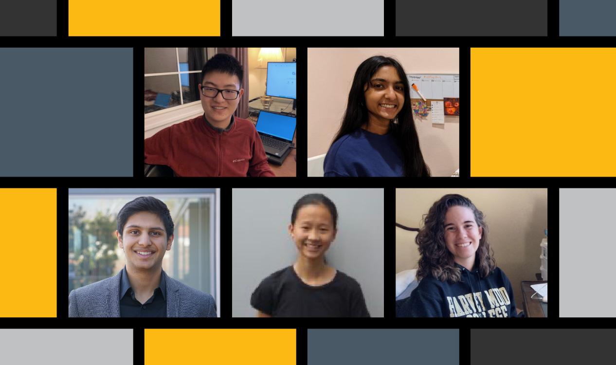 Collage of five students.