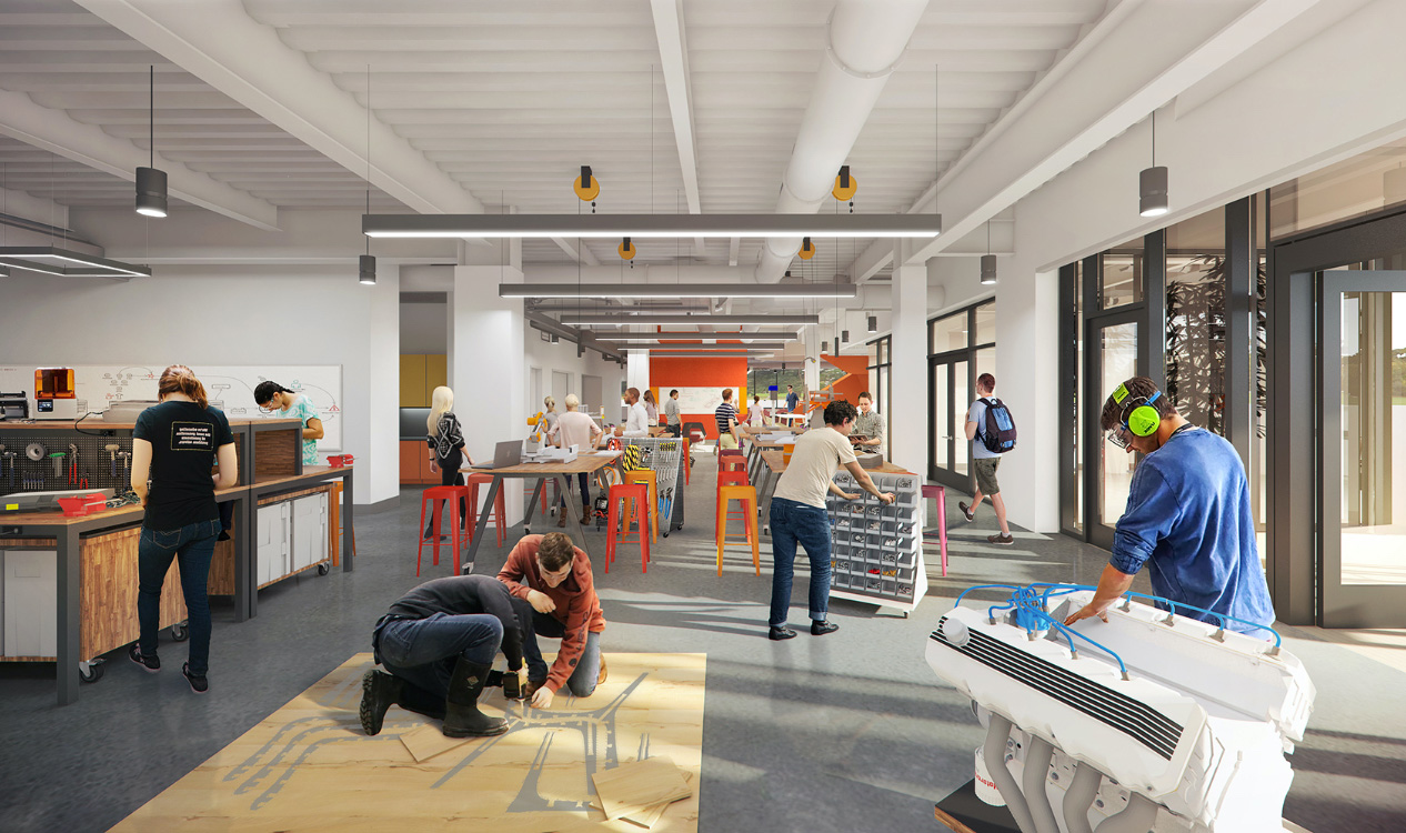 Artist impression of new building workspace with students.