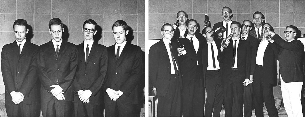 2 photos: 1. 4 students in suits stand looking sad; 2. 10 students celebrating with bottles.