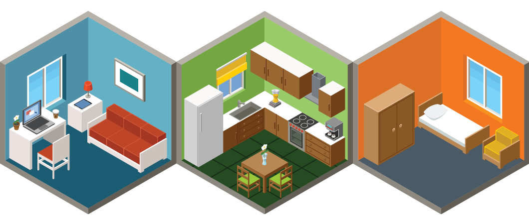 Graphic of room layouts