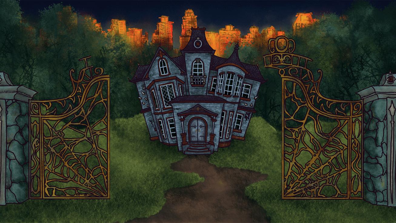 """House exterior, gate open"""