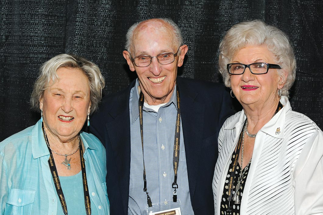 Dorothy Harris-McCullough, former Harvey Mudd assistant to the vice president for development, Eugene Hotchkiss and Hilda Larson, his former assistant.