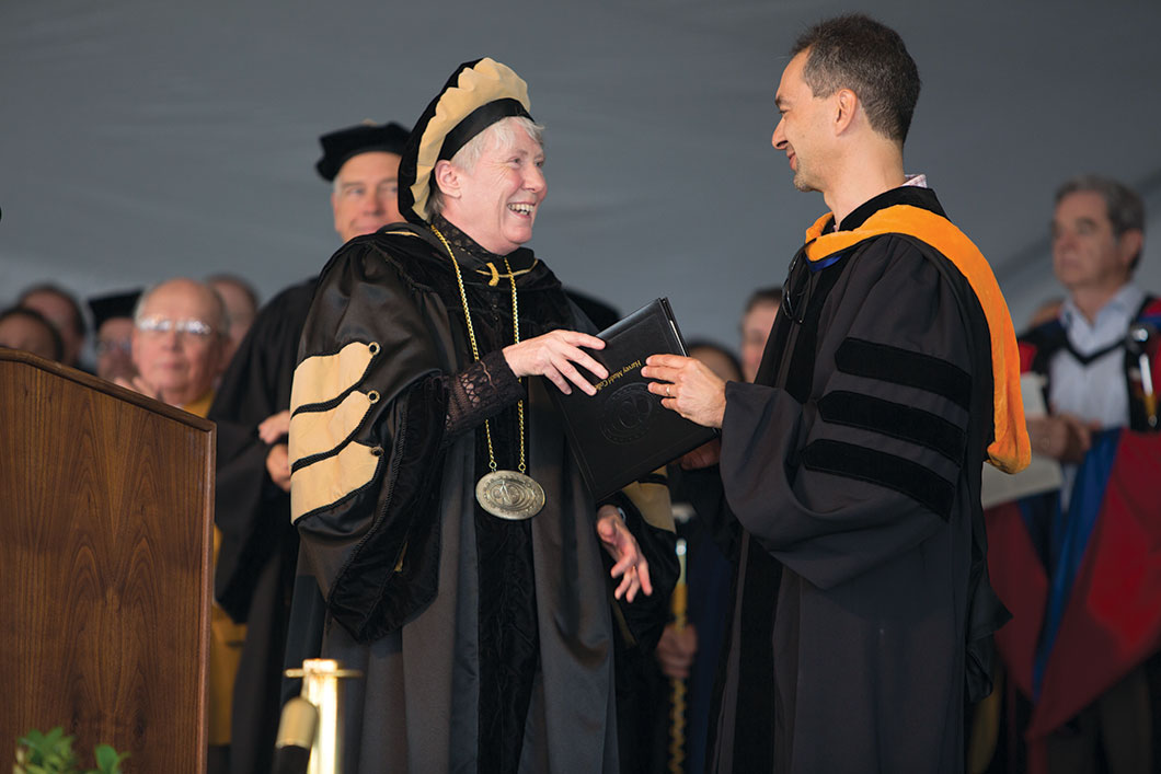 President Maria Klawe with Mudd Prize winner Ran Libeskind-Hadas