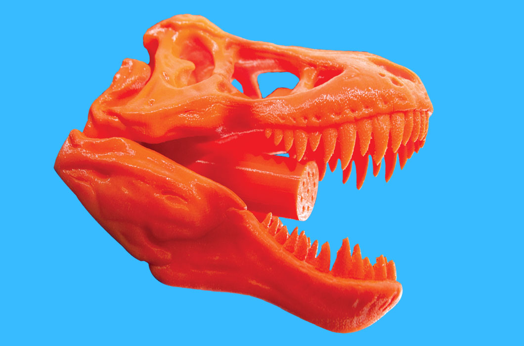 A 3-D printed T-Rex shower head by Voodoo Manufacturing