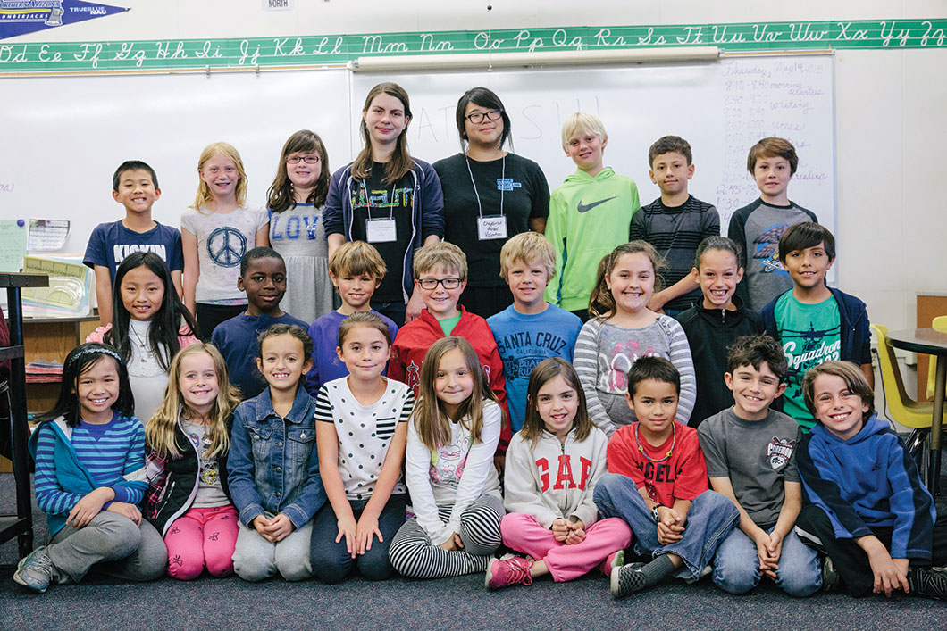 Dina Sinclair '17 and Lisa Yin '17 brought ideas from their science- and math-themed birthday party business to the third-grade class of Jean Merrill at Chaparral Elementary School in Claremont.