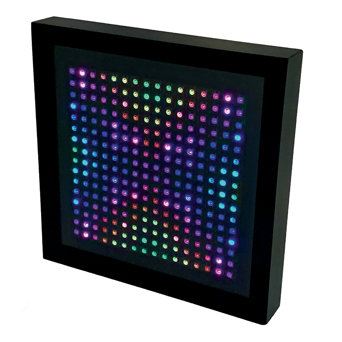 LED device; a square frame with colored lights.